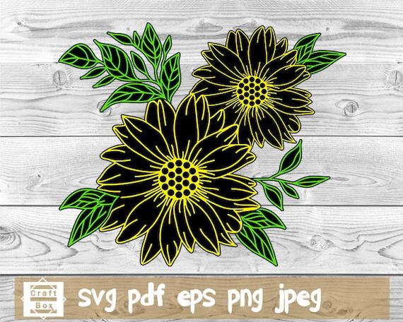 Sunflower Cut File Sunflower Svg Sunflower For Cricut Etsy