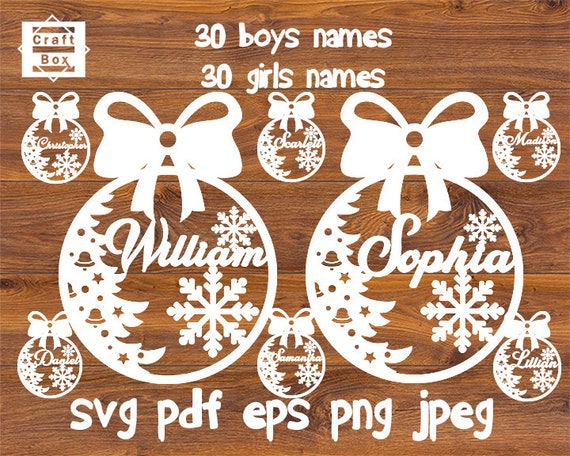 Christmas Names Svg Baubles Svg Christmas Svg Boys Names Etsy