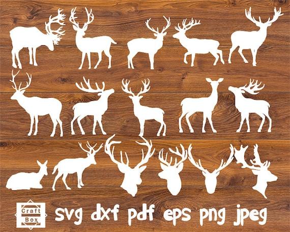 Deer Set Svg Deer Cut Files Deer Clipart Svg Deer Etsy