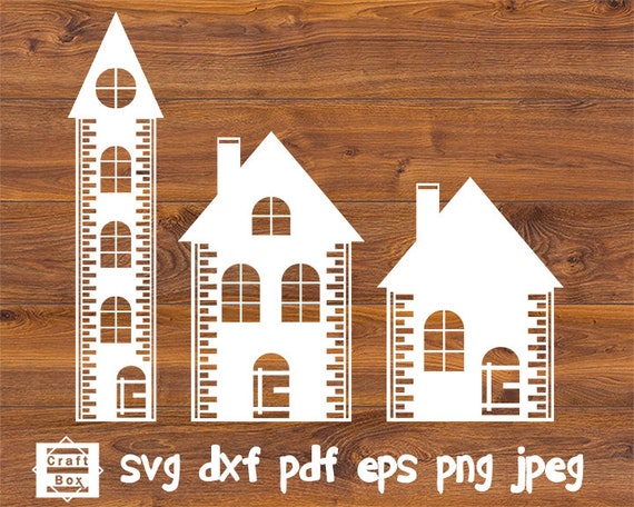 3 Houses In Set Svg Christmas House Svg House Clipart Svg Etsy