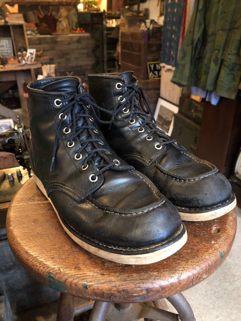 910b97be0af5 1950s Style Black Red Wing 9075 Moc Toe Leather Workwear Boots