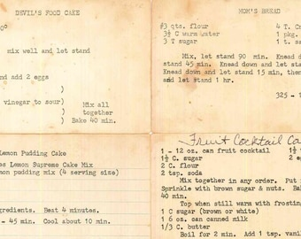 recipes on index cards