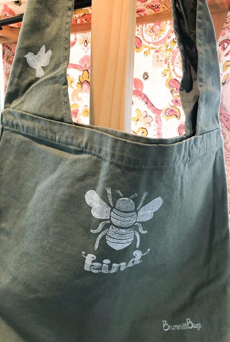 Bee Kind inside pocket boho accessory sling bag green bag Large canvas tote mom gift gift for her gift for gardeners nature lover