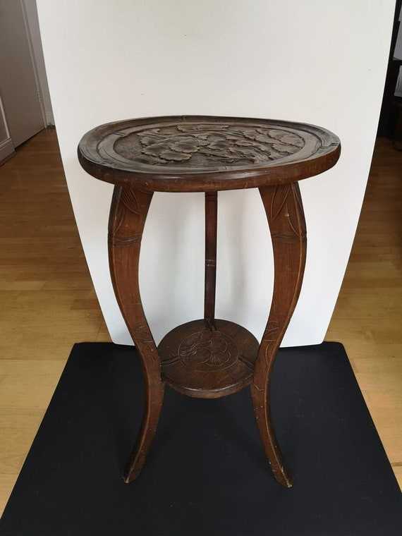 Antique Japanese Hand Carved Lotus Round Side Table Circa Etsy