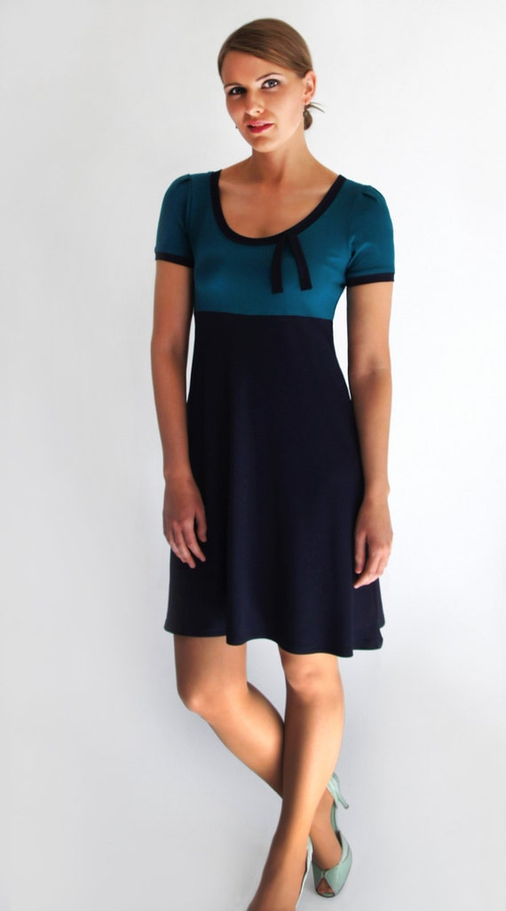 Kleid Blau Petrol Ava Kurzarm Figurgunstige A Linie Lange Nach Etsy
