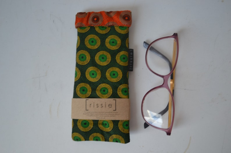 bookish gift Green and Orange fabric spring top sunglasses case eyeglass case soft