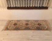 Hallway Runner Rug small 2 39 7 39 39 x6 39 4 39 39 Vintage rug Natural Color Old Oushak Rug Nomad Area Turkish wool Natural Dyes KH085