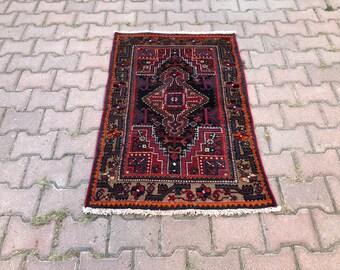 red wall door kilim rug turkish rug vintage rug  anatolian rug oushak rug boho rug home decor carpet rugs 1.7x3.9 ft.