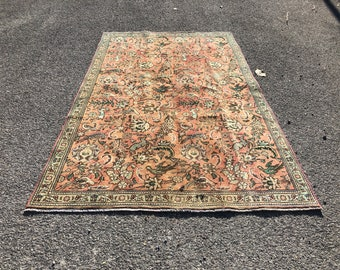 Persian rug   Area rug   Handmade rug   Vintage area rug   Livingroom rug  4.6 x .7.7 ft   Persian orange rug   orange rug   bohemian rug