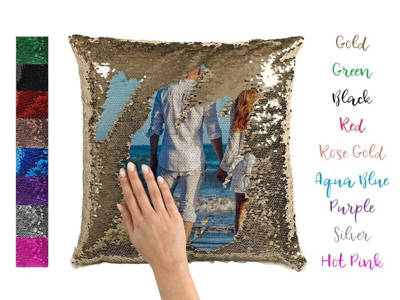 Custom Sequin Pillow Personalized Reversible Sequins Fathers image 0