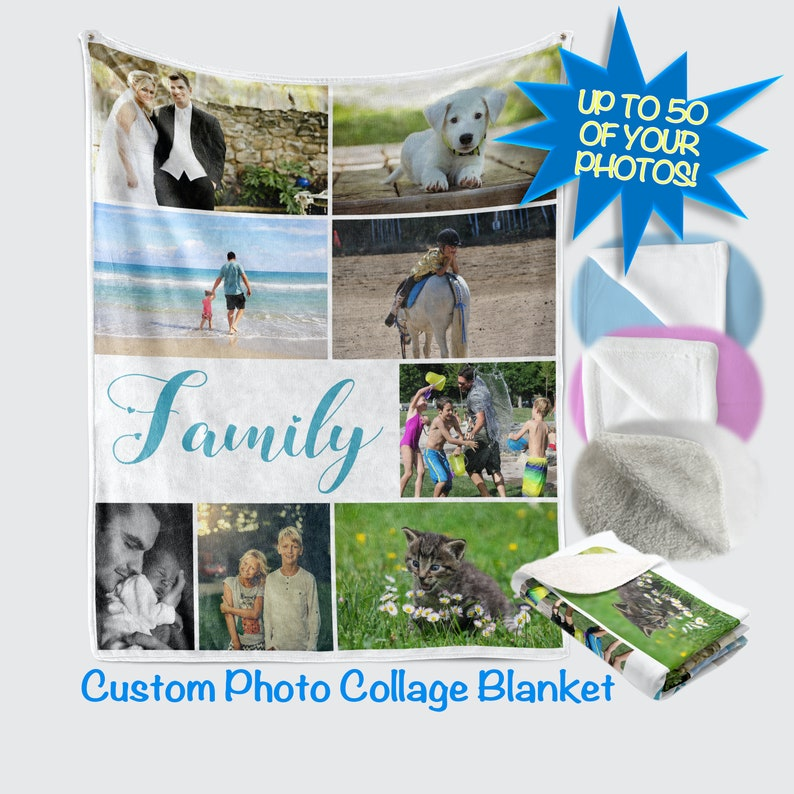 Custom Photo Blanket Personalized Adult Collage Graduation image 0