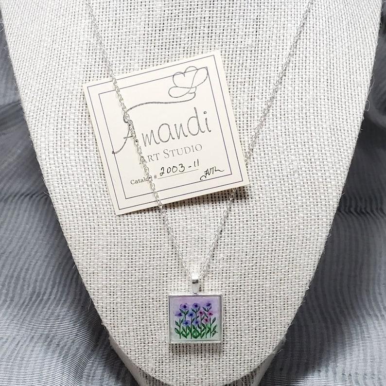 Handmade Pendant Hand Painted Square Pendant Wearable Art Unique Gift Purple and Pink Floral Original Artwork