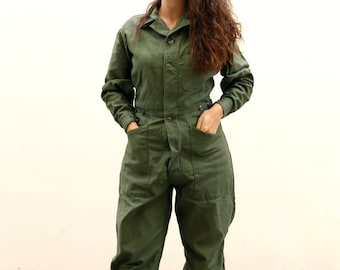 74c3b3c94fd6 Vintage Overalls Green Army Coveralls