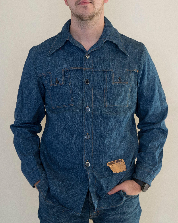 1970s Mens Shirt Styles – Vintage 70s Shirts for Guys Vintage Denim Shirt  Andhurst 1970s Mens Size Largex-Large $0.00 AT vintagedancer.com