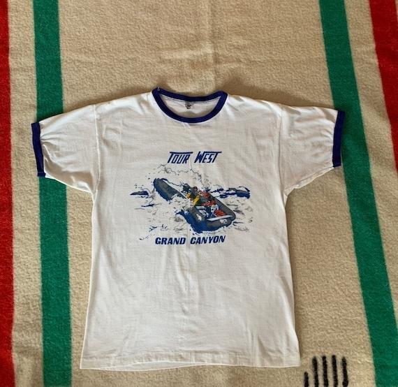 Vintage Champion Blue Bar Ringer T Shirt single st
