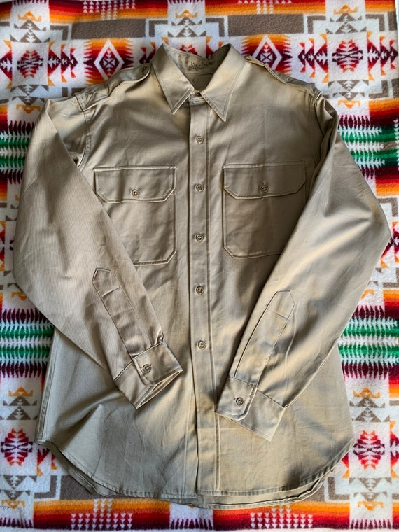 Vintage military uniform shirt khaki cotton twill