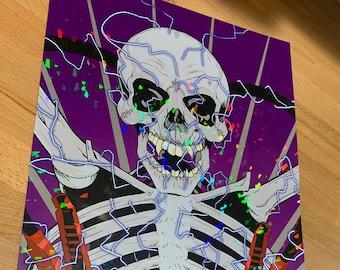 Battery Heavy Metal Skull HOLO print 11x17