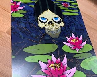 Lily Skull Art Print 11x17 Flowers