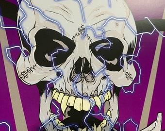 Battery Heavy Metal Skull print 11x17