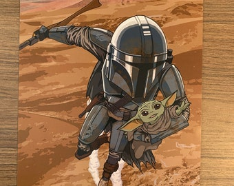 The Mandolorian and The Child 11x17 Print