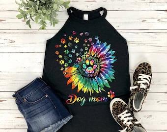 Dog Mom Tie Dye Flower Paws District Rocker Tank