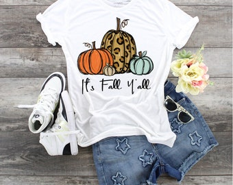Love these Pumpkins It's Fall Y'all... design t-shirt