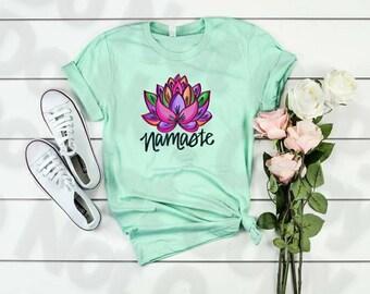 Beautiful Lotus Flower, Namaste, Lotus Flower, Buddhist image, Lotus Namaste, Water color Lotus, Lotus water color shirt, Yoga lover tee,