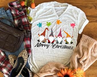 Christmas Autism Gnomes design.  Bella Canvas V-neck T-shirt