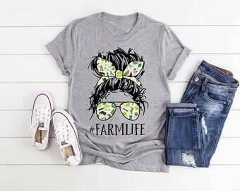 FarmLife, Ladies Farm, Farm Lover Shirt, Life Bun Glasses shirt,