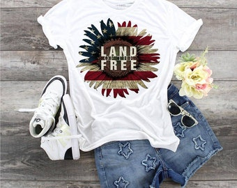 Red, White and Blue Flag Patriotic Land Of The Free Sunflower, Ladies Patriotic Sunflower shirt, Ladies Patriotic shirt, Land of the Free