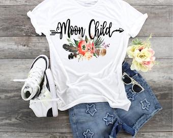 Moon Child with Arrow and Feathers, Boho Feathers, Boho Arrow, Moon Goddess shirt, Ladies that love the Moon shirt, MoonChild Shirt, Moon,