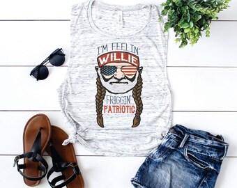 I'm Feelin Willie Friggen Patriotic design Bella Canvas flowy tank.