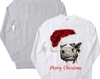 Mooey Christmas Cow sweatshirt. . design crew neck sweatshirt