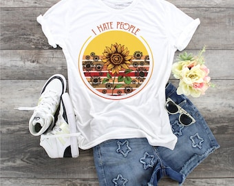 I Hate People with Sunflowers in Red..design