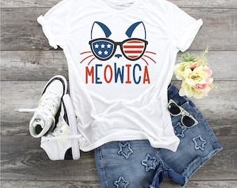 Meowica 4th of  July  design t-shirt YOUTH