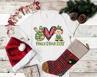 Christmas Peace Love Elf .. design t-shirt