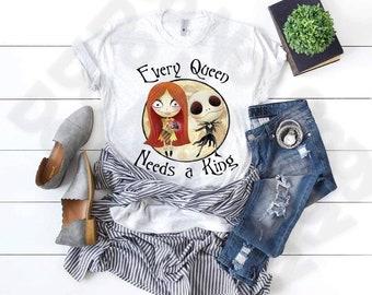 Every Queen Need A King, Halloween Jack, Halloween Sally, Halloween shirt, Nightmare, Christmas shirt, Halloween, Pumpkin King, Pumpkin