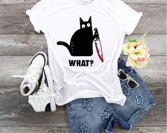 What Cat with Knife Kitty Gonna Get You Feed Her Quick, angry cat with knife, cat with knife, Cat with butcher knife. Bloody knife cat,