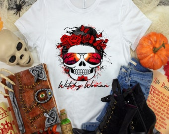 Witchy Woman Skull with Red Flowers and Butterflies Halloween t shirt