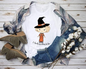 """Halloween Golden Style """"I Can Be As Witchy As You"""" design t-shirt"""