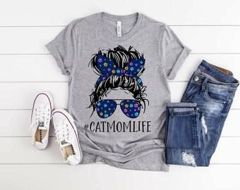 Cat Mom Life, Cat Mom, Bun and Sunglasses Life,  Cat Lover Tee, Love Cats, Cat Owner shirt,  Loves Cats, Cat Tshirt,  Cat owner tee, Cat tee