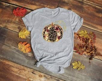 Beautiful Leopard Pumpkin Patch design t-shirt.