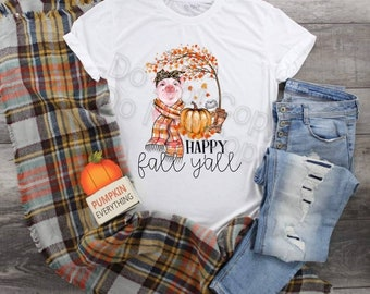 Adorable Pig Happy Fall Y'all... design t-shirt