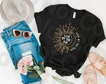 Live By The Sun Love By The Moon., Moon, Sun, Stars, Women's shirt, Unisex Shirt, Bella Canvas shirt