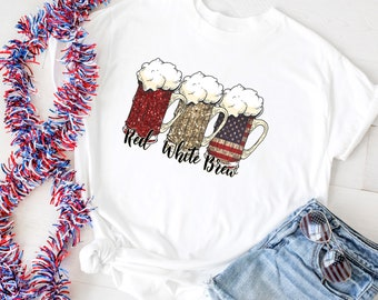 Red White Brew, Patriotic Beer Mugs,Red White Blue Glasses, Patriotic Beer, 4th Of July Shirt men, 4th of July Shirt women,  America, USA,