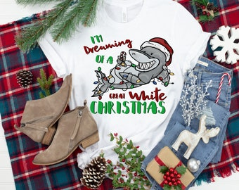I'M Dreaming Of A Great White Shark Christmas .. design t-shirt