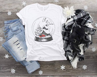 Christmas Let It Snow Red Truck Snow Globe sublimation design t-shirt