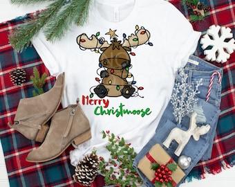 Merry Christmoose, Christmas Moose, Christmas shirt, Moose Christmas lights, Cute Moose, Moose Lover shirt, Moose for Christmas, Merry Moose