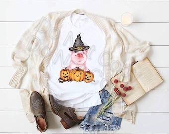 Fall Halloween Adorable Piggy with Pumpkins design t-shirt