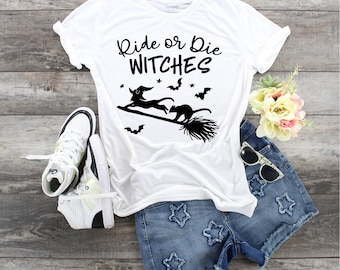 Ride Or Die Witches, Witches Shirt, Cat Witches, Where My Witches At, Witch Cat and Broom tee, Cat Lover Shirt. Flying Cats, Ride or Die,